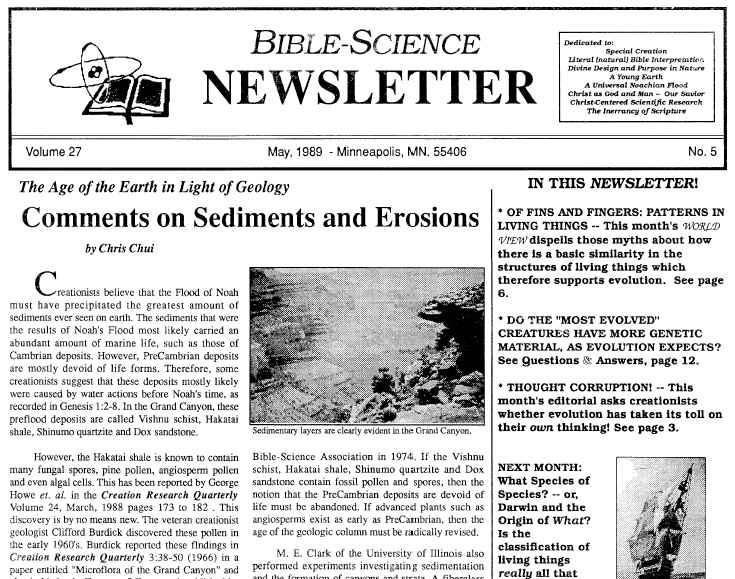 Scan of the front page of the May 1989 Bible-Science Newsletter