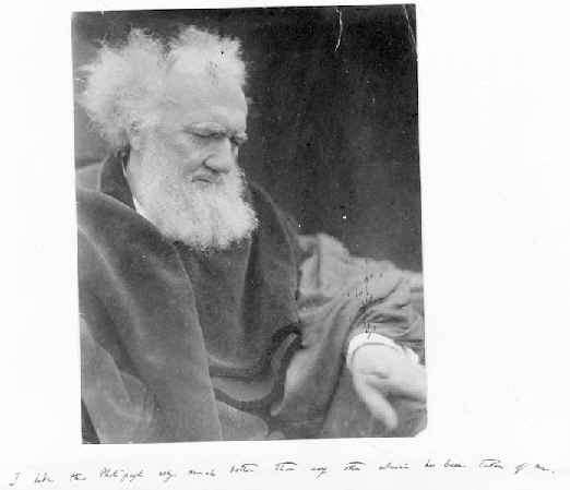 Alleged photo of Charles Darwin taken by Julia Margaret Cameron, online in the Yale University collection