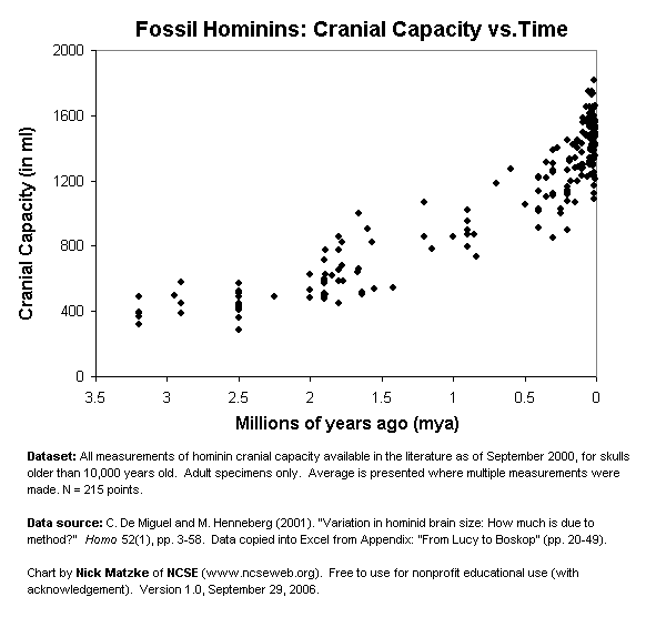 Chart showing hominin cranial capacity over time. Summary: fossil hominid brain size over the last 3 million years. Data from De Miguel and Henneberg, 2001, chart by Nick Matzke of NCSE.  Free for nonprofit educational use.